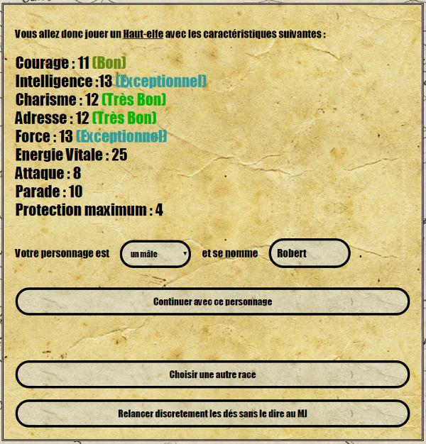 [site web] Création de personnage en ligne Score